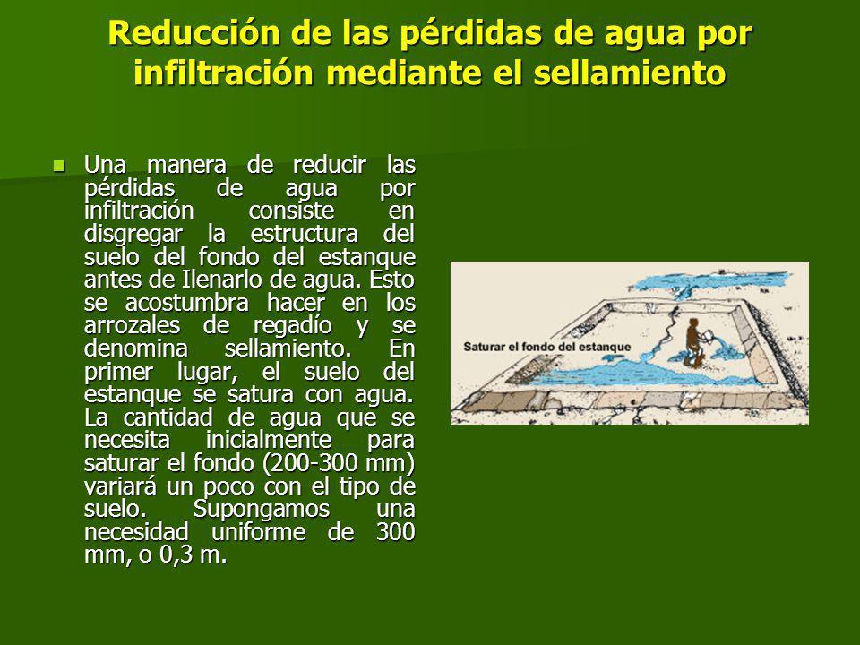 Reducción de las pérdidas de agua por infiltración mediante el sellamiento Una manera de reducir las pérdidas de agua por infiltración consiste en disgregar la estructura del suelo del fondo del estanque antes de Ilenarlo de agua.