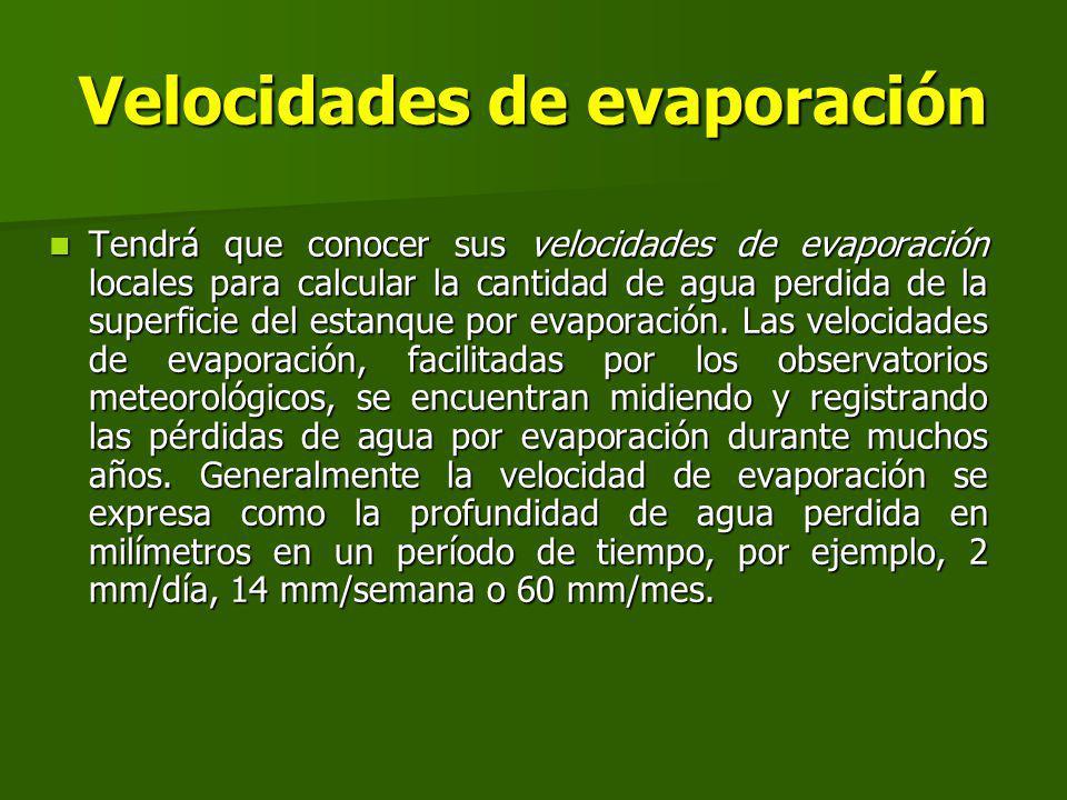 Velocidades de evaporación Tendrá que conocer sus velocidades de evaporación locales para calcular la cantidad de agua perdida de la superficie del estanque por evaporación.