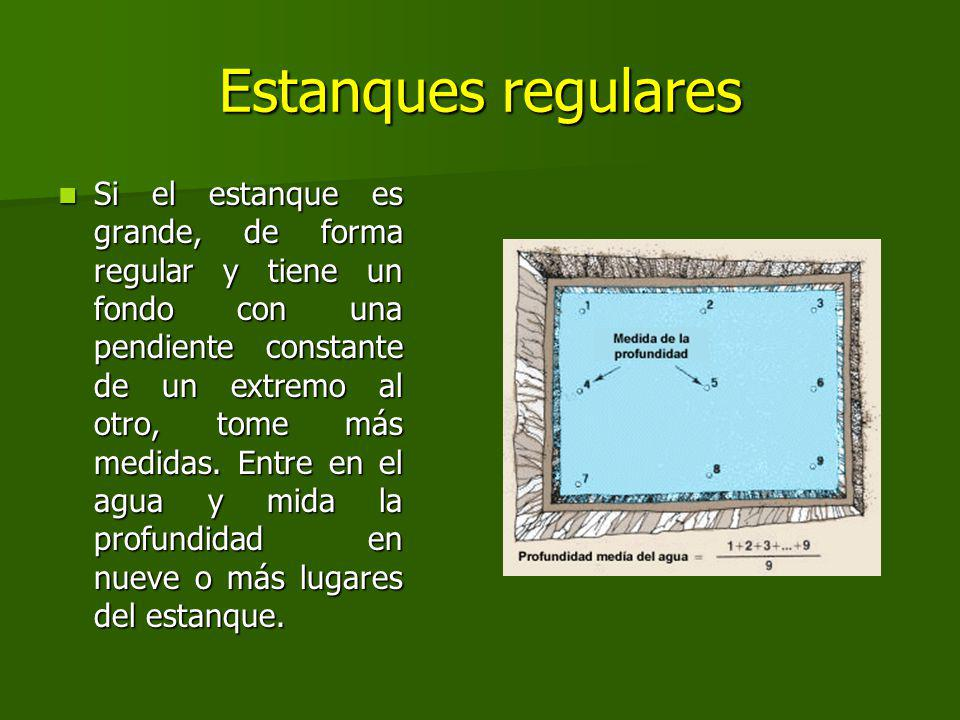 Estanques regulares Si el estanque es grande, de forma regular y tiene un fondo con una pendiente constante de un extremo al otro, tome más medidas.