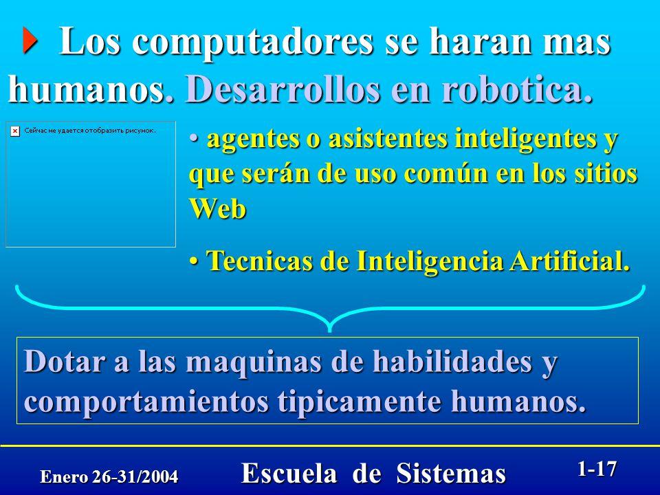 Enero 26-31/2004 Escuela de Sistemas 1-16 Los computadores se haran mas humanos. Desarrollos en robotica. Los computadores se haran mas humanos. Desar