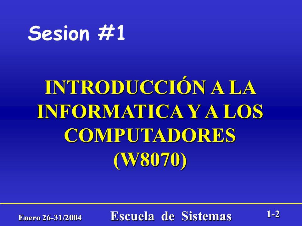 Enero 26-31/2004 Escuela de Sistemas 1-1 FACULTAD DE MINAS Escuela de Sistemas