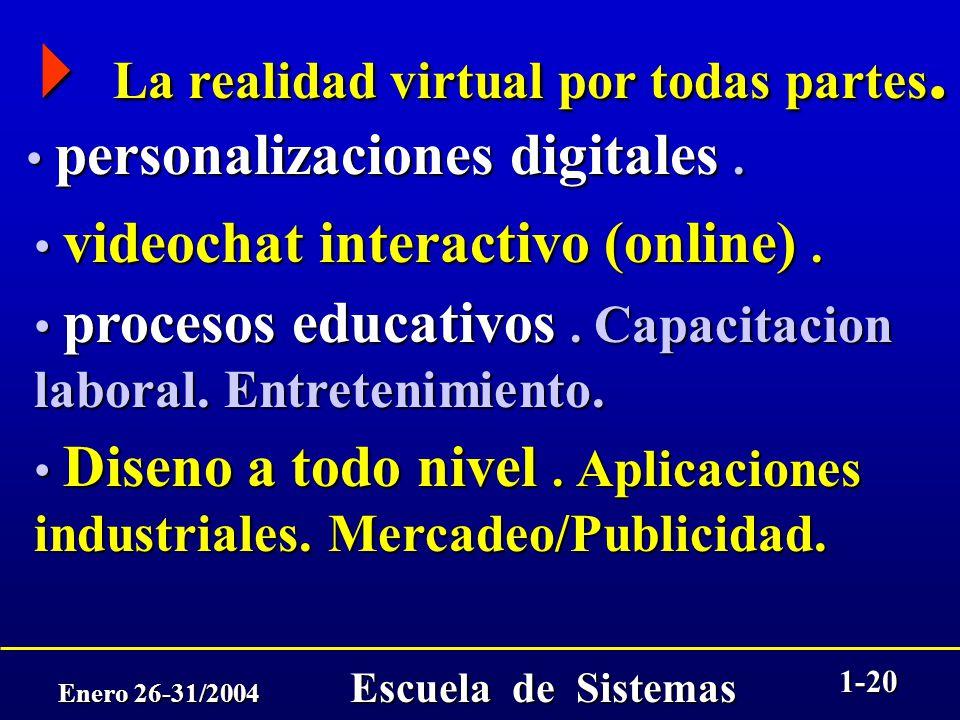 Enero 26-31/2004 Escuela de Sistemas 1-19 La economia basada en Internet. La economia basada en Internet. la economía basada en Internet será la mayor