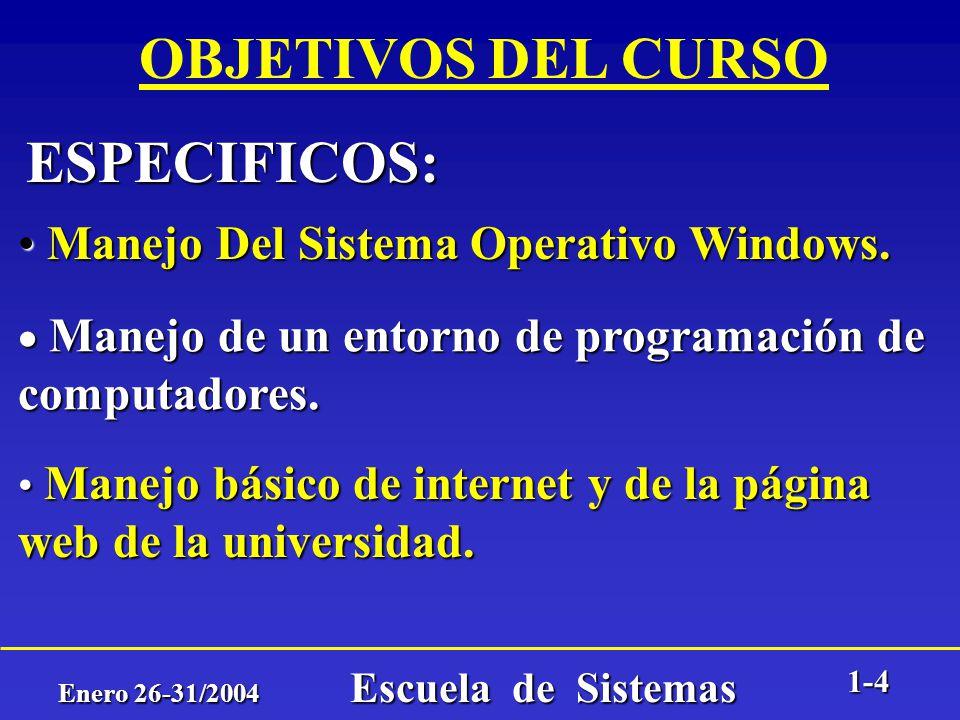 Enero 26-31/2004 Escuela de Sistemas 1-3 OBJETIVOS DEL CURSO Adquierir destrezas básicas que permitan entender y aplicar los conceptos y herramientas