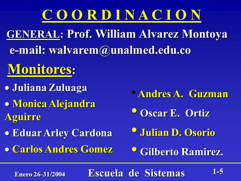 Enero 26-31/2004 Escuela de Sistemas 1-4 OBJETIVOS DEL CURSO ESPECIFICOS: Manejo de un entorno de programación de computadores. Manejo de un entorno d