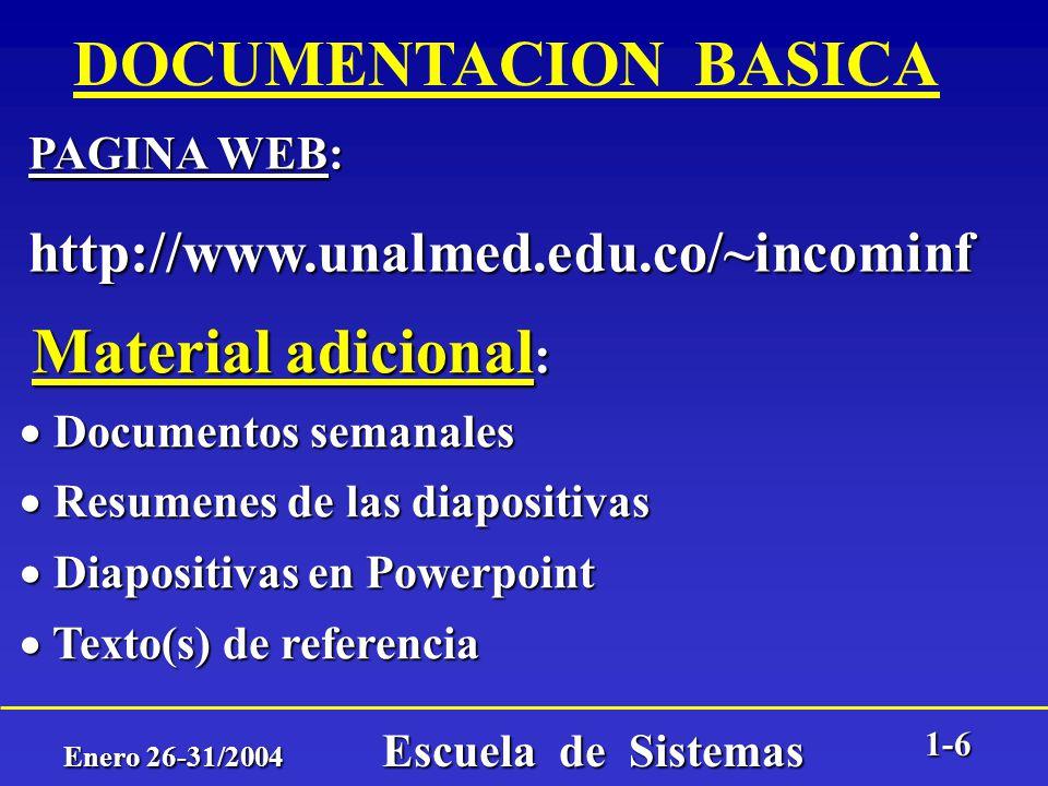 Enero 26-31/2004 Escuela de Sistemas 1-5 C O O R D I N A C I O N GENERAL: Prof. William Alvarez Montoya e-mail: walvarem@unalmed.edu.co e-mail: walvar