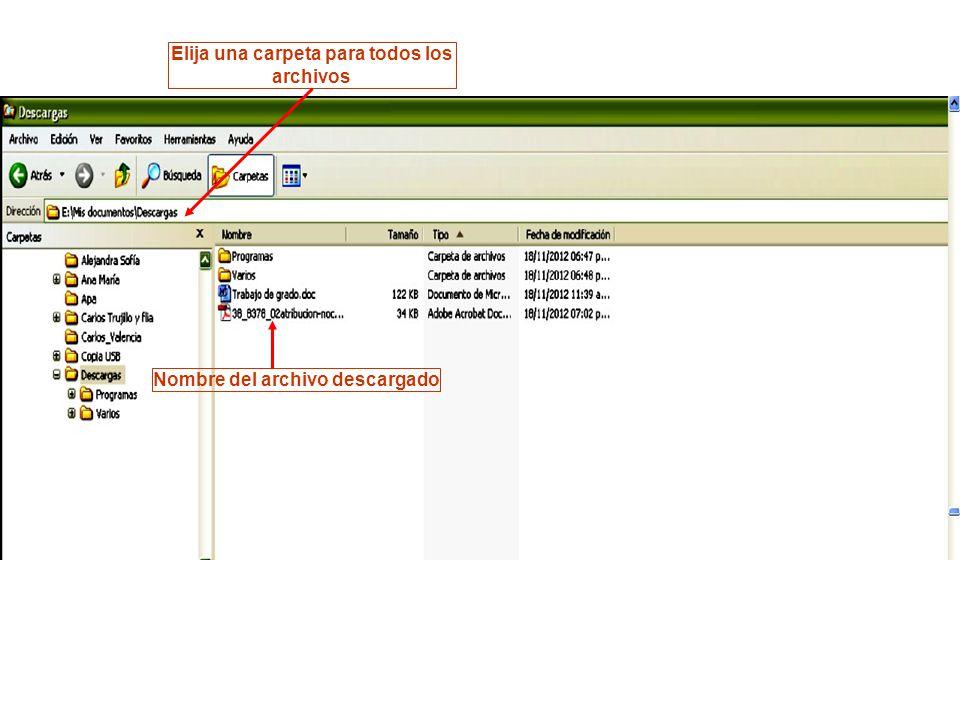 Nombre del archivo descargado Elija una carpeta para todos los archivos