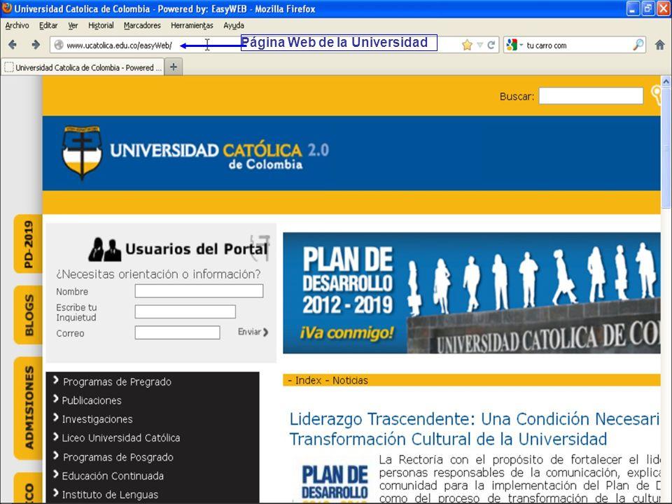 Página Web de la Universidad