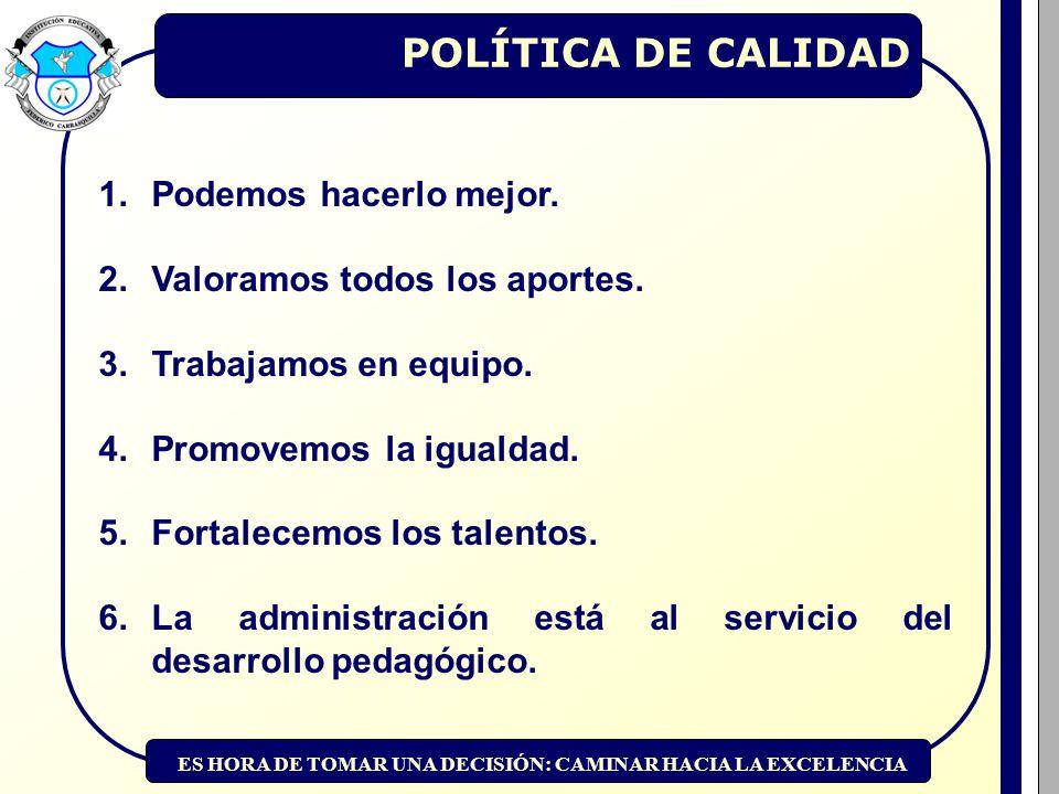 ES HORA DE TOMAR UNA DECISIÓN: CAMINAR HACIA LA EXCELENCIA POLÍTICA DE CALIDAD 1.Podemos hacerlo mejor.