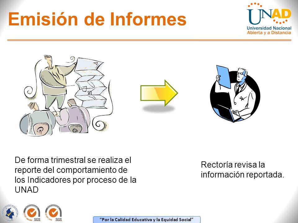 Por la Calidad Educativa y la Equidad Social Emisión de Informes De forma trimestral se realiza el reporte del comportamiento de los Indicadores por p