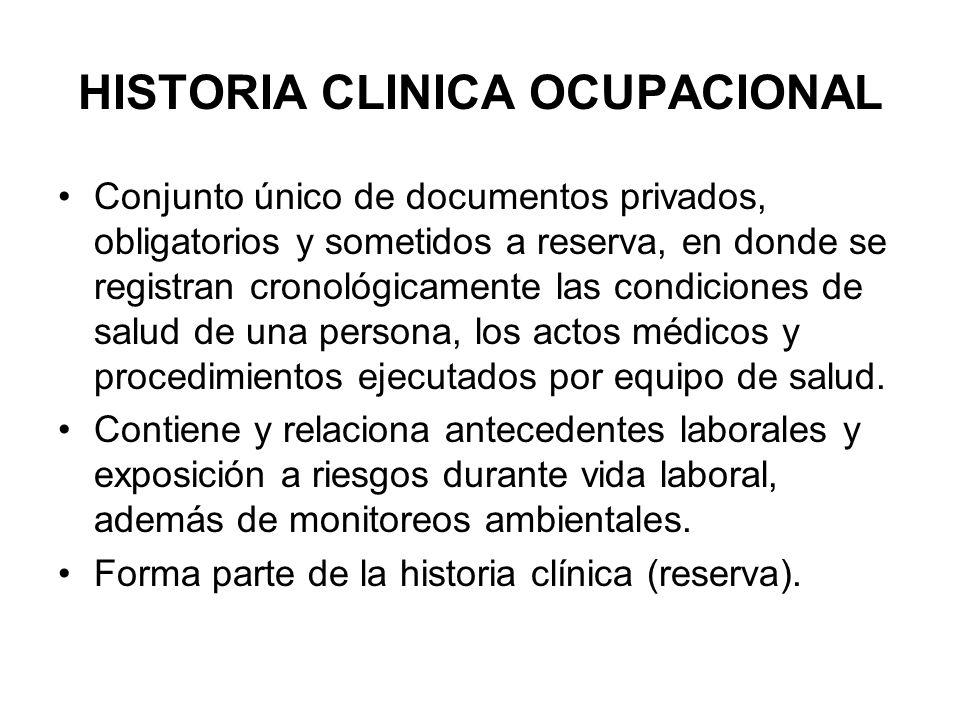 HISTORIA CLINICA OCUPACIONAL Conjunto único de documentos privados, obligatorios y sometidos a reserva, en donde se registran cronológicamente las con