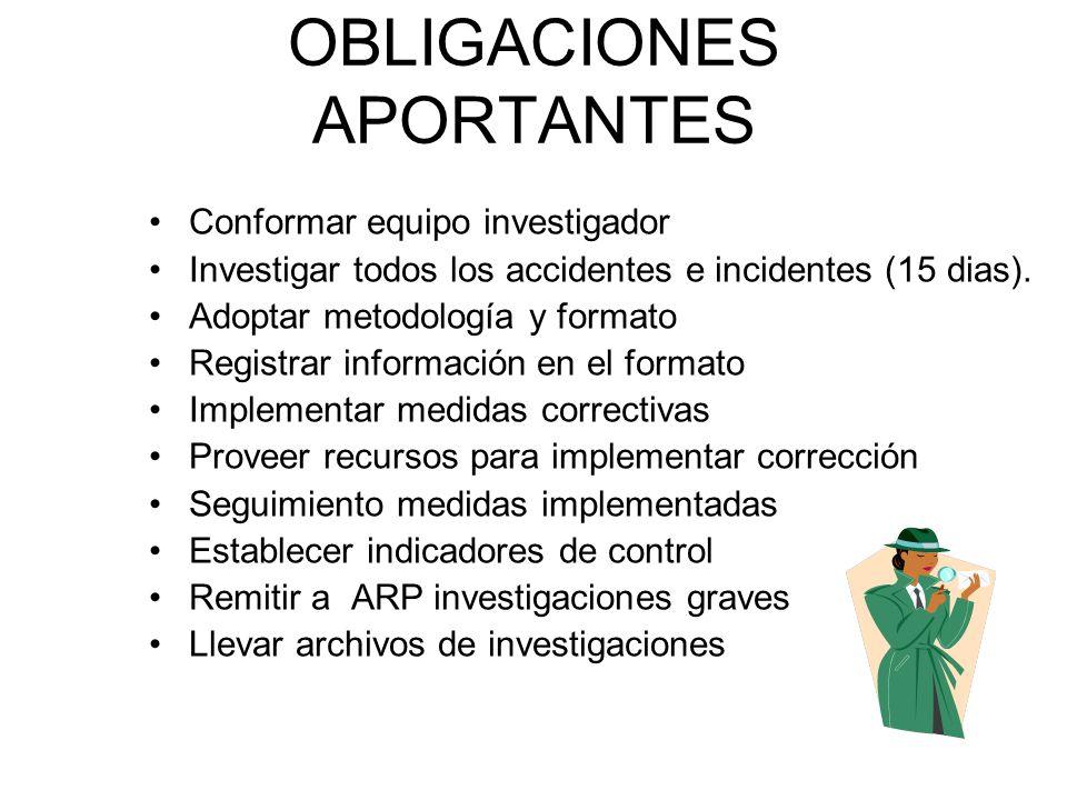 OBLIGACIONES APORTANTES Conformar equipo investigador Investigar todos los accidentes e incidentes (15 dias). Adoptar metodología y formato Registrar