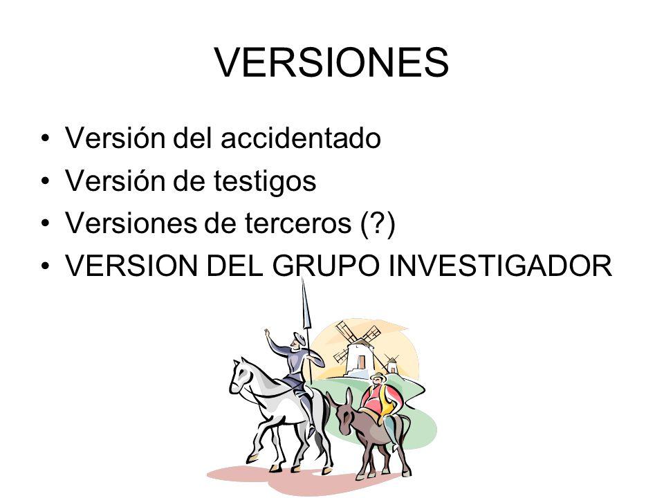 VERSIONES Versión del accidentado Versión de testigos Versiones de terceros (?) VERSION DEL GRUPO INVESTIGADOR