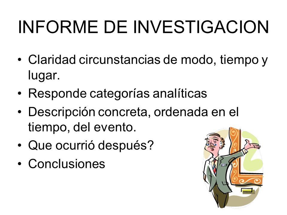 INFORME DE INVESTIGACION Claridad circunstancias de modo, tiempo y lugar. Responde categorías analíticas Descripción concreta, ordenada en el tiempo,