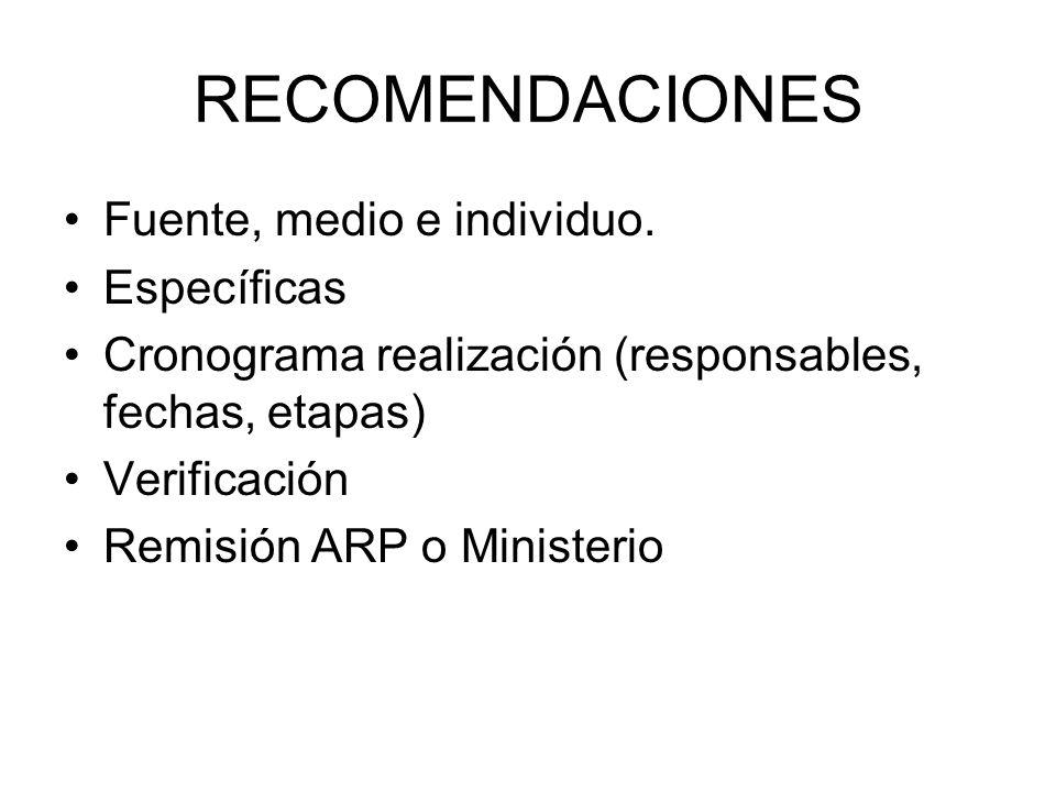 RECOMENDACIONES Fuente, medio e individuo.
