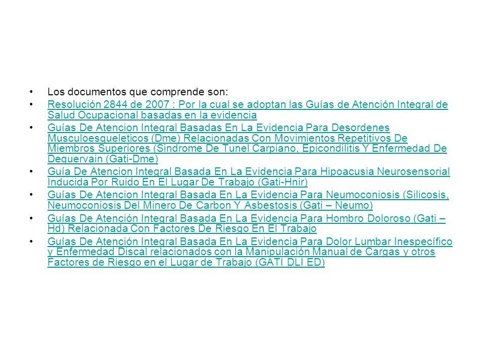 Los documentos que comprende son: Resolución 2844 de 2007 : Por la cual se adoptan las Guías de Atención Integral de Salud Ocupacional basadas en la evidenciaResolución 2844 de 2007 : Por la cual se adoptan las Guías de Atención Integral de Salud Ocupacional basadas en la evidencia Guías De Atencion Integral Basadas En La Evidencia Para Desordenes Musculoesqueleticos (Dme) Relacionadas Con Movimientos Repetitivos De Miembros Superiores (Sindrome De Tunel Carpiano, Epicondilitis Y Enfermedad De Dequervain (Gati-Dme)Guías De Atencion Integral Basadas En La Evidencia Para Desordenes Musculoesqueleticos (Dme) Relacionadas Con Movimientos Repetitivos De Miembros Superiores (Sindrome De Tunel Carpiano, Epicondilitis Y Enfermedad De Dequervain (Gati-Dme) Guía De Atencion Integral Basada En La Evidencia Para Hipoacusia Neurosensorial Inducida Por Ruido En El Lugar De Trabajo (Gati-Hnir)Guía De Atencion Integral Basada En La Evidencia Para Hipoacusia Neurosensorial Inducida Por Ruido En El Lugar De Trabajo (Gati-Hnir) Guías De Atencion Integral Basada En La Evidencia Para Neumoconiosis (Silicosis, Neumoconiosis Del Minero De Carbon Y Asbestosis (Gati – Neumo)Guías De Atencion Integral Basada En La Evidencia Para Neumoconiosis (Silicosis, Neumoconiosis Del Minero De Carbon Y Asbestosis (Gati – Neumo) Guías De Atención Integral Basada En La Evidencia Para Hombro Doloroso (Gati – Hd) Relacionada Con Factores De Riesgo En El TrabajoGuías De Atención Integral Basada En La Evidencia Para Hombro Doloroso (Gati – Hd) Relacionada Con Factores De Riesgo En El Trabajo Guías De Atención Integral Basada En La Evidencia Para Dolor Lumbar Inespecífico y Enfermedad Discal relacionados con la Manipulación Manual de Cargas y otros Factores de Riesgo en el Lugar de Trabajo (GATI DLI ED)Guías De Atención Integral Basada En La Evidencia Para Dolor Lumbar Inespecífico y Enfermedad Discal relacionados con la Manipulación Manual de Cargas y otros Factores de Riesgo en el Lugar de Trabajo (GATI DLI 