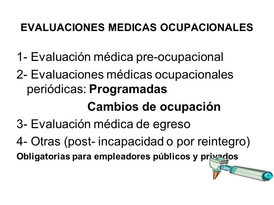 EVALUACIONES MEDICAS OCUPACIONALES 1- Evaluación médica pre-ocupacional 2- Evaluaciones médicas ocupacionales periódicas: Programadas Cambios de ocupación 3- Evaluación médica de egreso 4- Otras (post- incapacidad o por reintegro) Obligatorias para empleadores públicos y privados