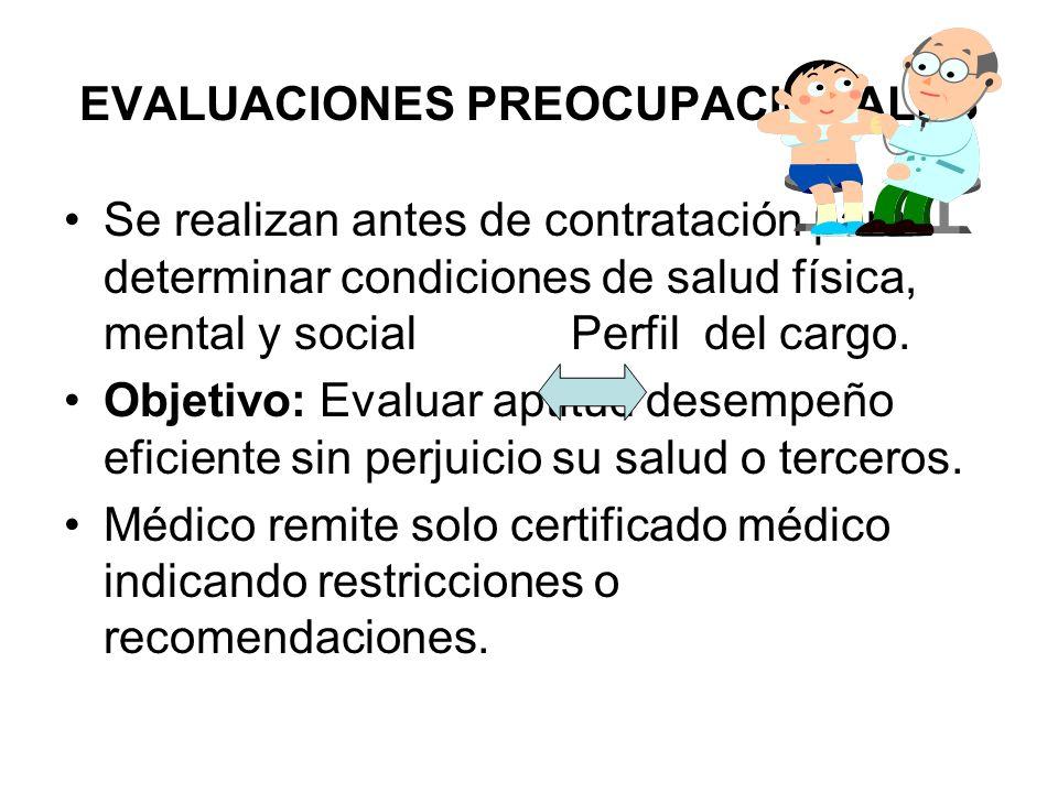 EVALUACIONES PREOCUPACIONALES Se realizan antes de contratación para determinar condiciones de salud física, mental y social Perfil del cargo.
