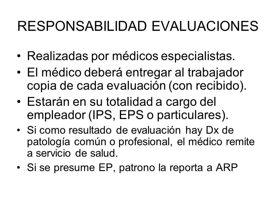 RESPONSABILIDAD EVALUACIONES Realizadas por médicos especialistas. El médico deberá entregar al trabajador copia de cada evaluación (con recibido). Es