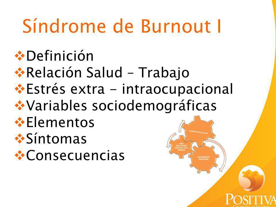 Definición Relación Salud – Trabajo Estrés extra - intraocupacional Variables sociodemográficas Elementos Síntomas Consecuencias Síndrome de Burnout I