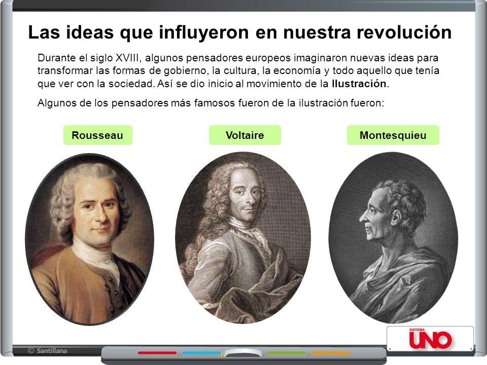 Las ideas que influyeron en nuestra revolución Durante el siglo XVIII, algunos pensadores europeos imaginaron nuevas ideas para transformar las formas