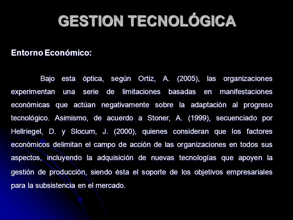 Entorno Económico: Bajo esta óptica, según Ortiz, A. (2005), las organizaciones experimentan una serie de limitaciones basadas en manifestaciones econ