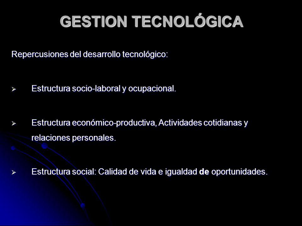 GESTION TECNOLÓGICA Patrones de medición: El objetivo del desarrollo tecnológico, de acuerdo a Denrell, J.