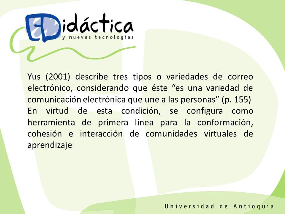 Mensaje personal Foro de debate Listas de distribución TIPOLOGÍA DEL CORREO ELECTRÓNICO Yus 2001