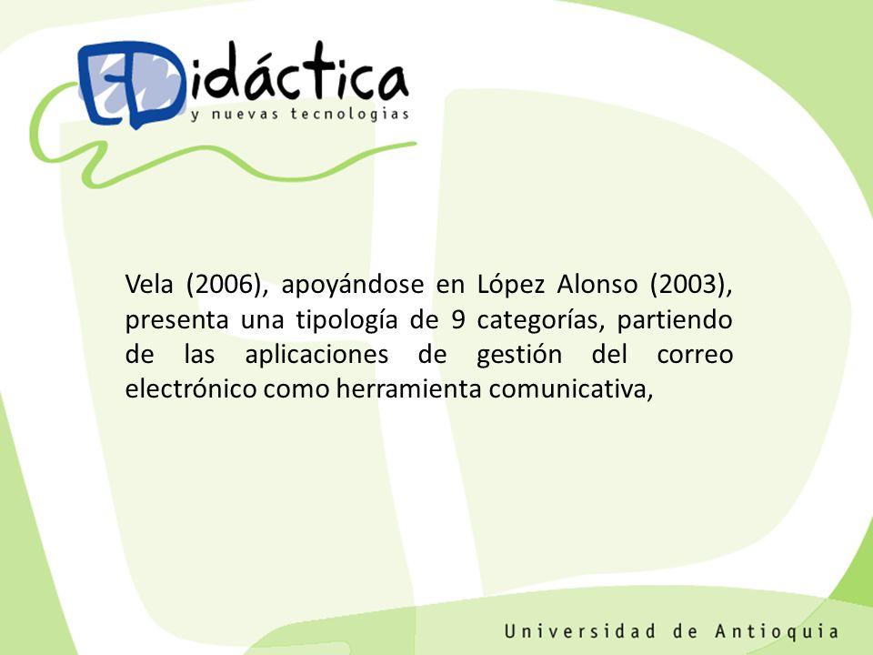 Vela (2006), apoyándose en López Alonso (2003), presenta una tipología de 9 categorías, partiendo de las aplicaciones de gestión del correo electrónico como herramienta comunicativa,