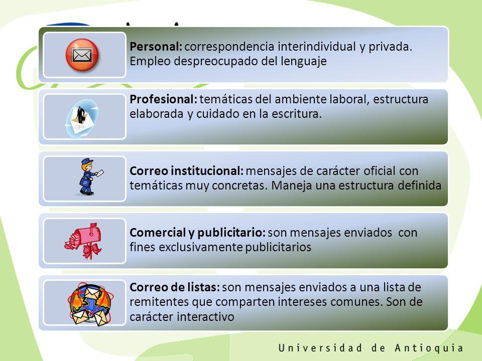 Personal: correspondencia interindividual y privada.