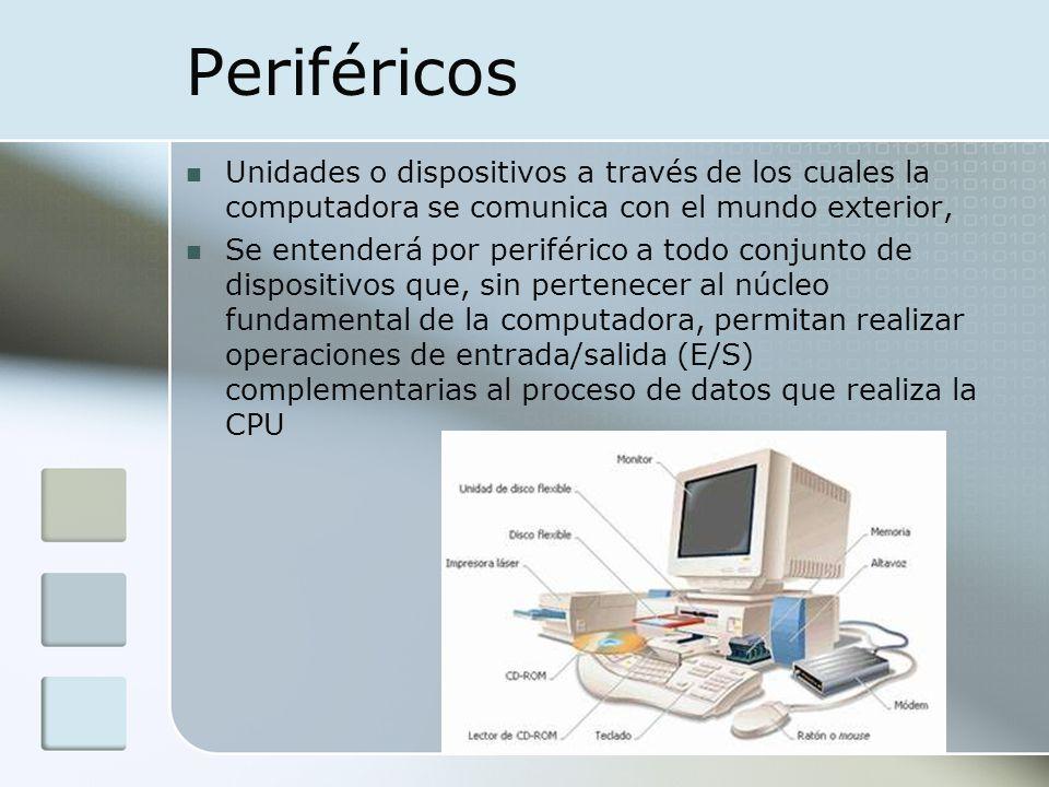 Periféricos Unidades o dispositivos a través de los cuales la computadora se comunica con el mundo exterior, Se entenderá por periférico a todo conjun
