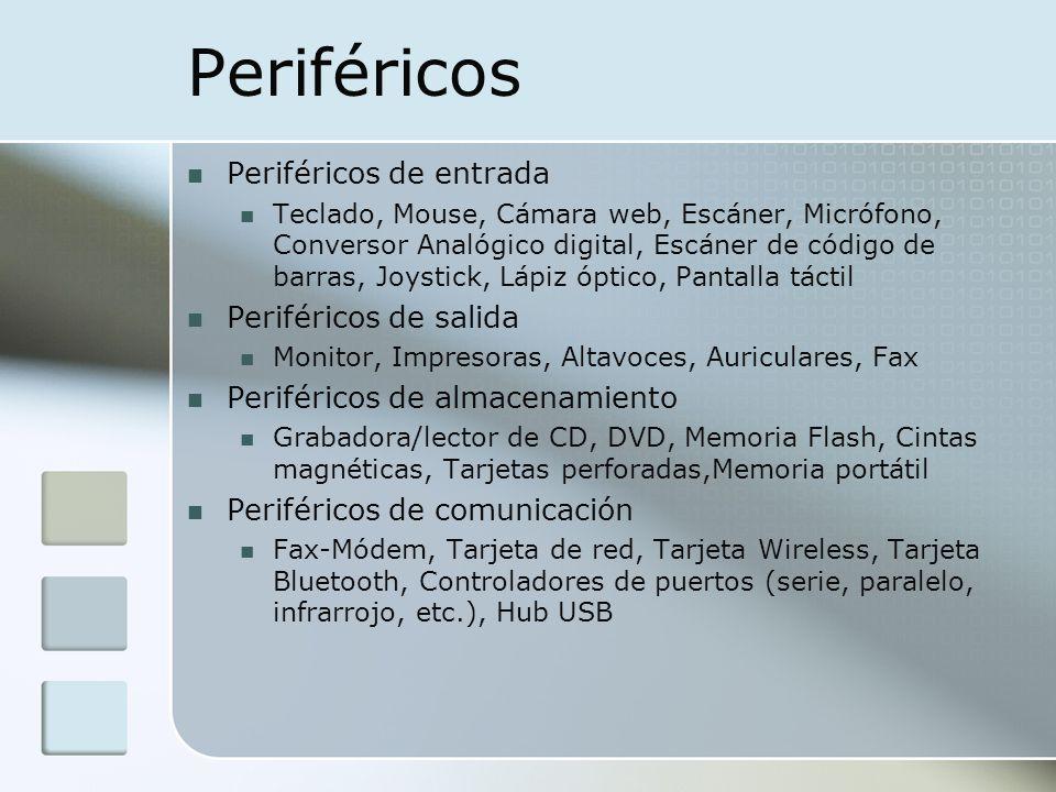Periféricos Periféricos de entrada Teclado, Mouse, Cámara web, Escáner, Micrófono, Conversor Analógico digital, Escáner de código de barras, Joystick,