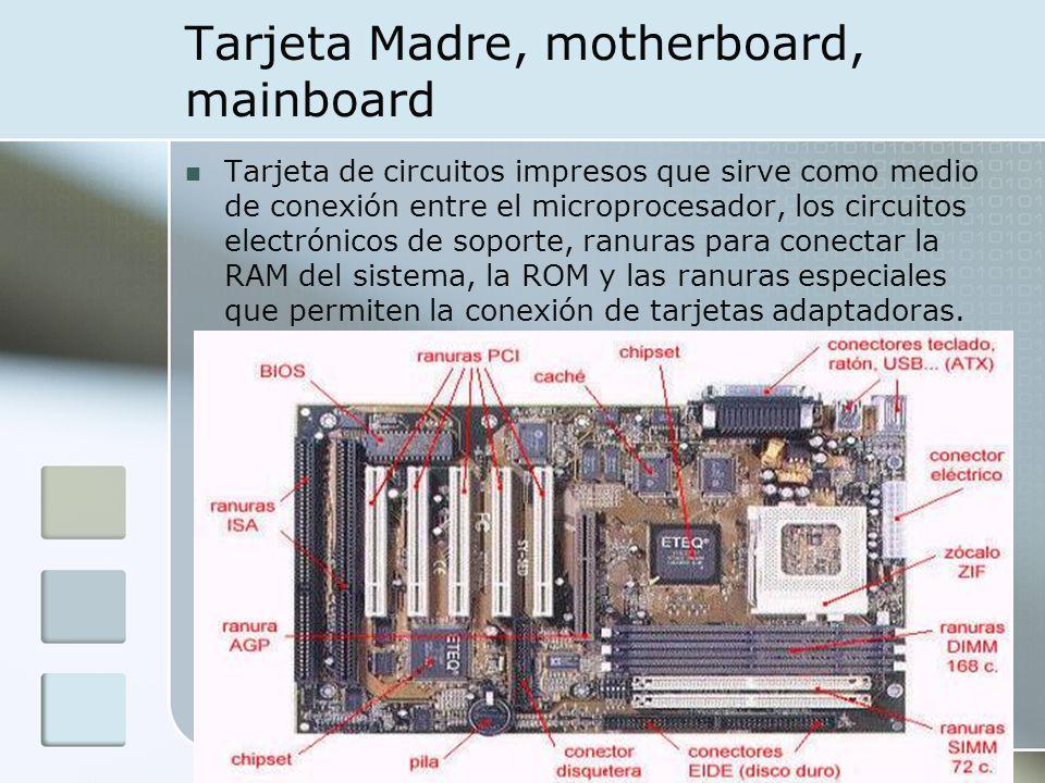 Tarjeta Madre, motherboard, mainboard Tarjeta de circuitos impresos que sirve como medio de conexión entre el microprocesador, los circuitos electróni