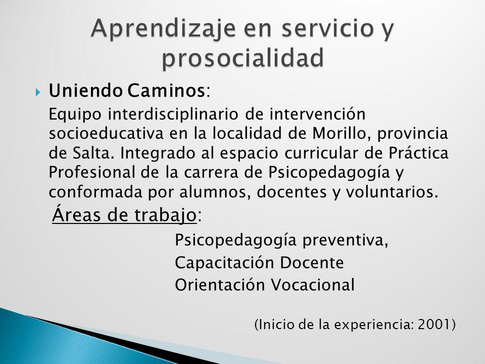 Uniendo Caminos: Equipo interdisciplinario de intervención socioeducativa en la localidad de Morillo, provincia de Salta. Integrado al espacio curricu