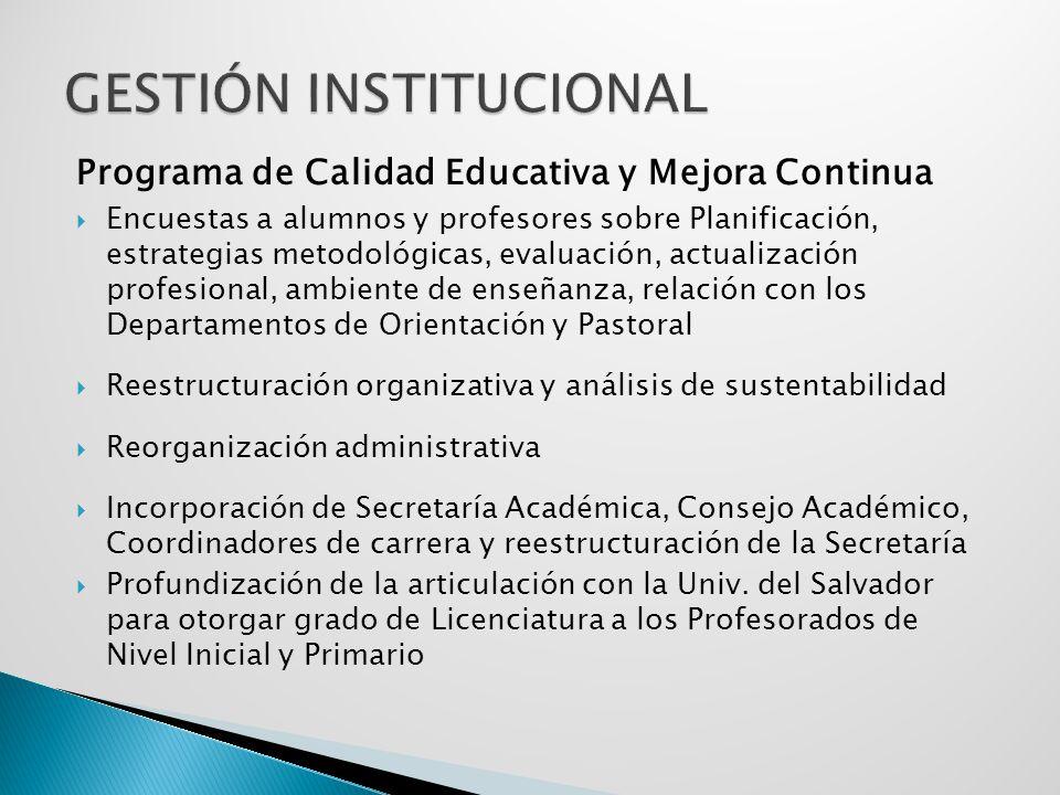 Programa de Calidad Educativa y Mejora Continua Encuestas a alumnos y profesores sobre Planificación, estrategias metodológicas, evaluación, actualiza