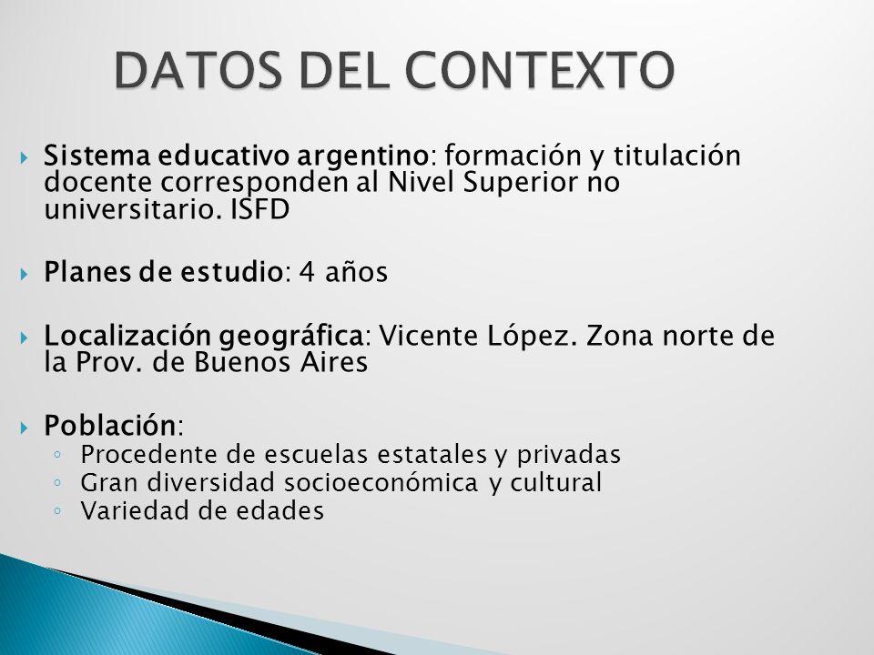 Sistema educativo argentino: formación y titulación docente corresponden al Nivel Superior no universitario. ISFD Planes de estudio: 4 años Localizaci