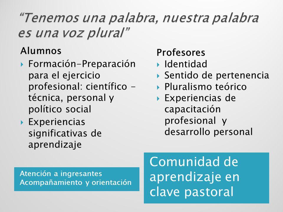 Atención a ingresantes Acompañamiento y orientación Comunidad de aprendizaje en clave pastoral Alumnos Formación-Preparación para el ejercicio profesi