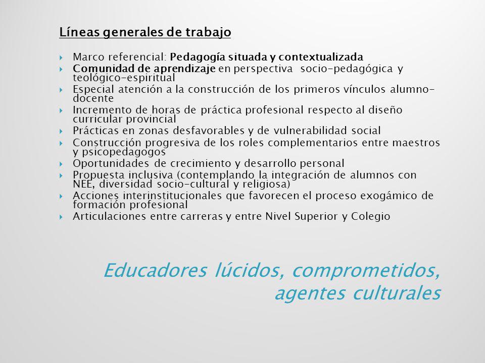 Líneas generales de trabajo Marco referencial: Pedagogía situada y contextualizada Comunidad de aprendizaje en perspectiva socio-pedagógica y teológic