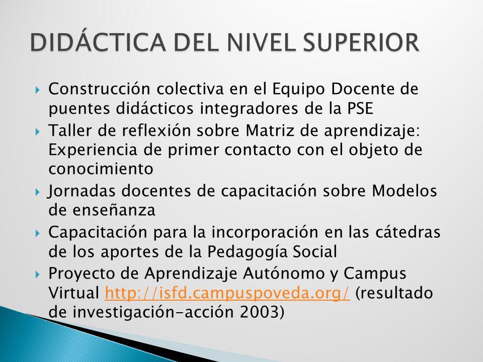 Construcción colectiva en el Equipo Docente de puentes didácticos integradores de la PSE Taller de reflexión sobre Matriz de aprendizaje: Experiencia