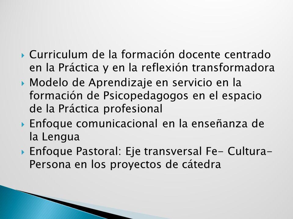 Curriculum de la formación docente centrado en la Práctica y en la reflexión transformadora Modelo de Aprendizaje en servicio en la formación de Psico