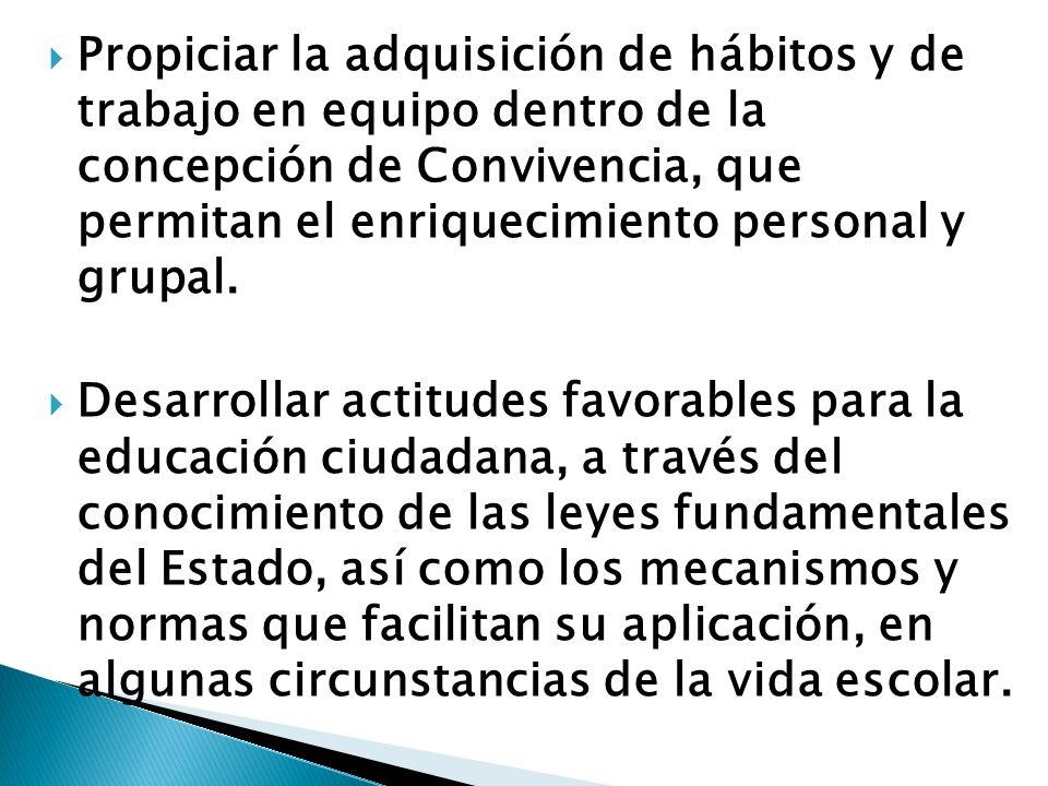 Propiciar la adquisición de hábitos y de trabajo en equipo dentro de la concepción de Convivencia, que permitan el enriquecimiento personal y grupal.