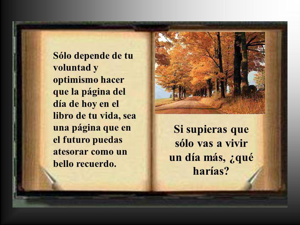 Sólo depende de tu voluntad y optimismo hacer que la página del día de hoy en el libro de tu vida, sea una página que en el futuro puedas atesorar com