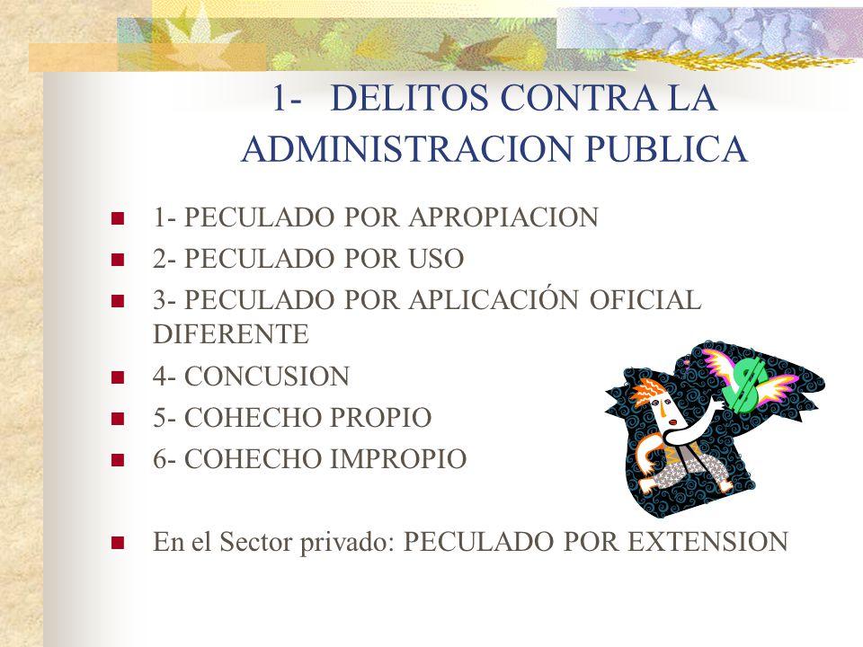 1- DELITOS CONTRA LA ADMINISTRACION PUBLICA 1- PECULADO POR APROPIACION 2- PECULADO POR USO 3- PECULADO POR APLICACIÓN OFICIAL DIFERENTE 4- CONCUSION 5- COHECHO PROPIO 6- COHECHO IMPROPIO En el Sector privado: PECULADO POR EXTENSION