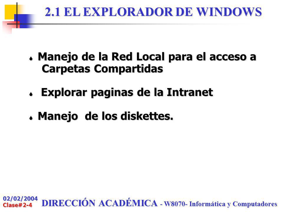 02/02/2004 Clase#2-3 DIRECCIÓN ACADÉMICA - W8070- Informática y Computadores CONTENIDO 2.1 Explorador de Windows (Parte 2) 2.2 Introducción a Office 2.3 Normas Técnicas para documentos 2.4 Activar Word 2.5 Elaborar documentos con Word 2.6 Otras operaciones con Word CLASE #2