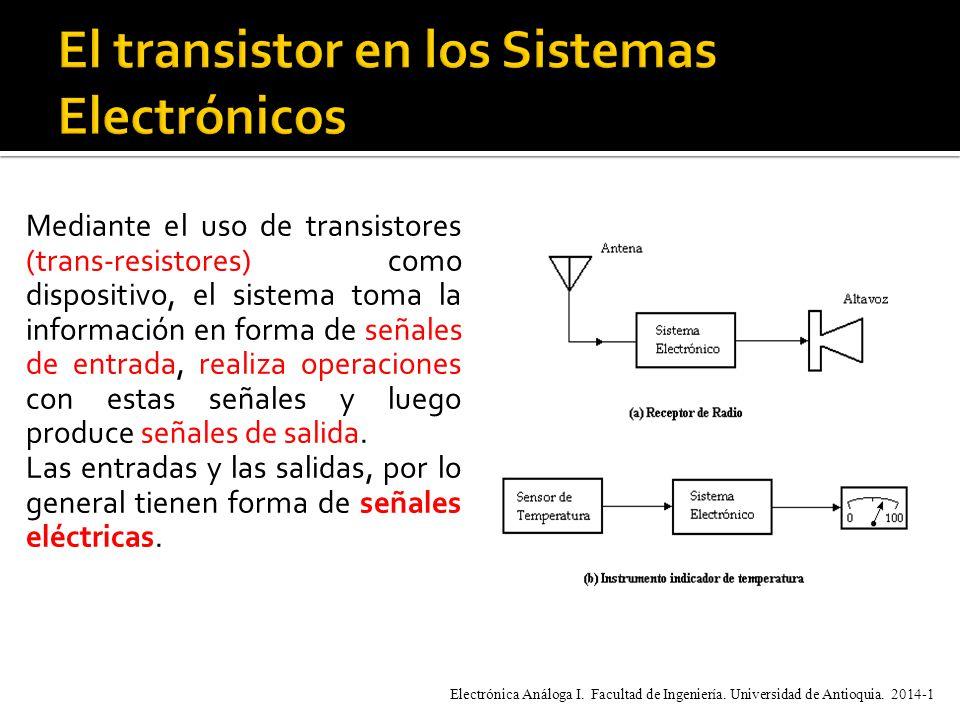 Mediante el uso de transistores (trans-resistores) como dispositivo, el sistema toma la información en forma de señales de entrada, realiza operaciones con estas señales y luego produce señales de salida.