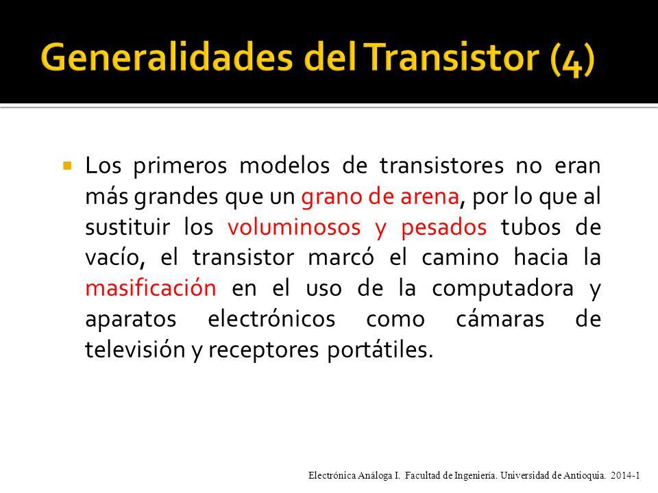 Los primeros modelos de transistores no eran más grandes que un grano de arena, por lo que al sustituir los voluminosos y pesados tubos de vacío, el transistor marcó el camino hacia la masificación en el uso de la computadora y aparatos electrónicos como cámaras de televisión y receptores portátiles.