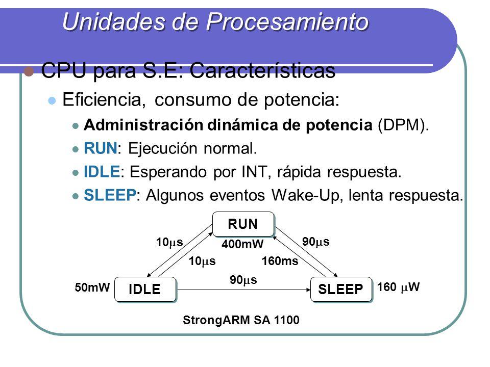 CPU para S.E: Características Eficiencia, consumo de potencia: Administración dinámica de potencia (DPM). RUN: Ejecución normal. IDLE: Esperando por I