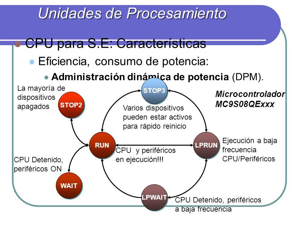 CPU para S.E: Características Eficiencia, consumo de potencia: Administración dinámica de potencia (DPM). RUN WAIT STOP2 STOP3 LPRUN LPWAIT Ejecución