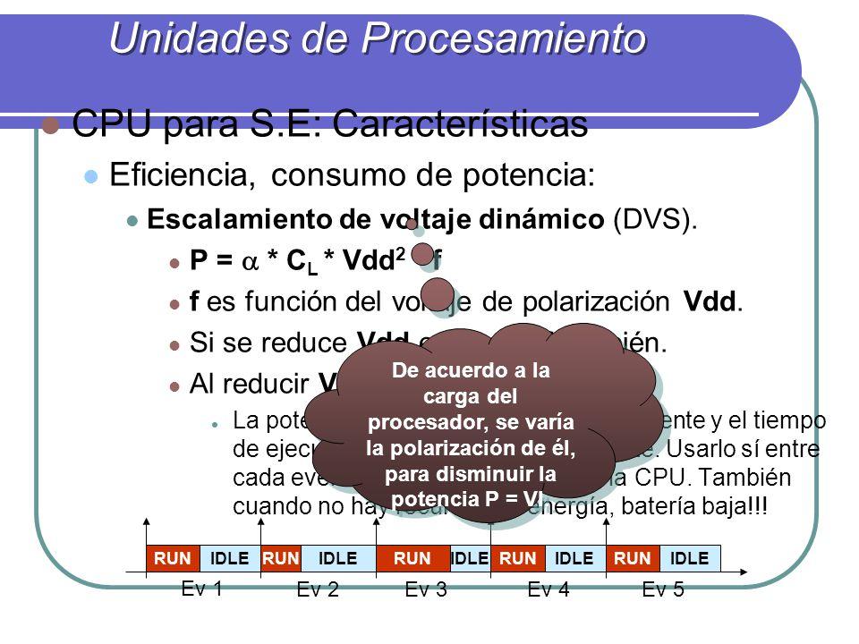 CPU para S.E: Características Eficiencia, consumo de potencia: Escalamiento de voltaje dinámico (DVS). P = * C L * Vdd 2 * f f es función del voltaje