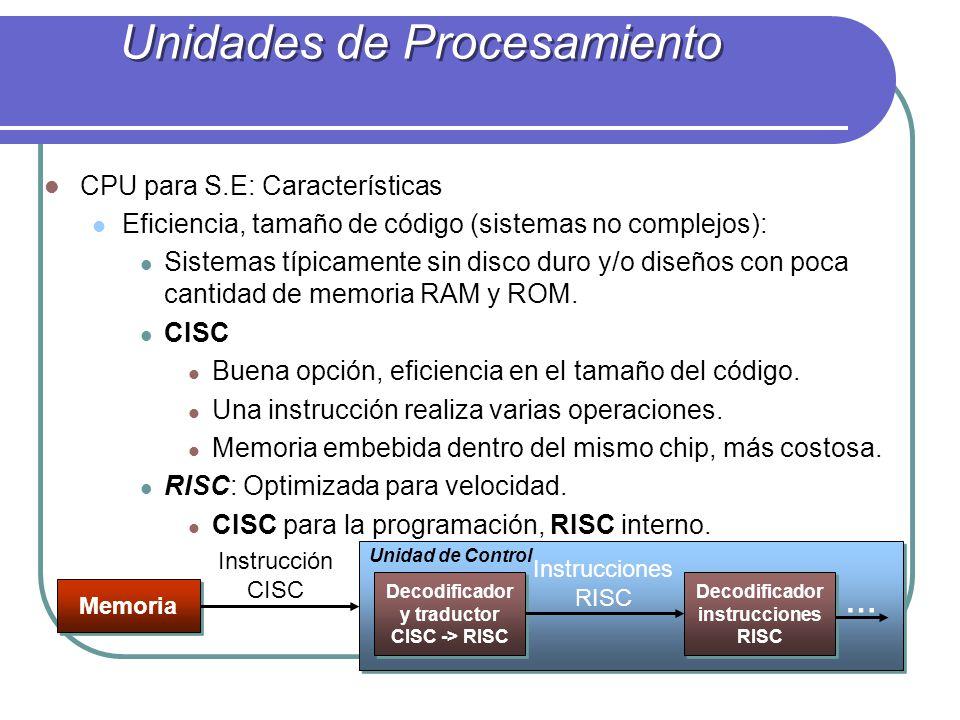 CPU para S.E: Características Eficiencia, tamaño de código (sistemas no complejos): Sistemas típicamente sin disco duro y/o diseños con poca cantidad