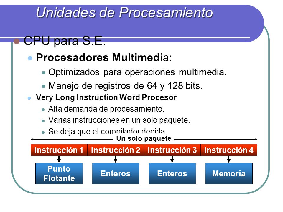 CPU para S.E.Procesadores Multimedia: Optimizados para operaciones multimedia.
